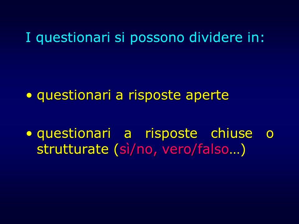 I questionari si possono dividere in: