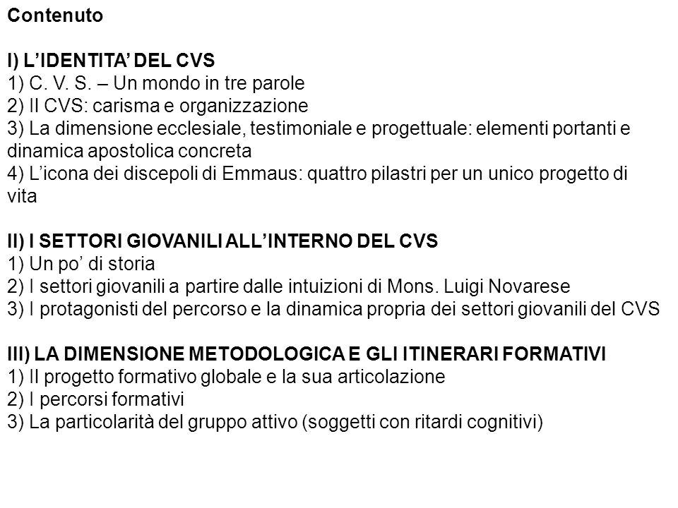 Contenuto I) L'IDENTITA' DEL CVS. 1) C. V. S. – Un mondo in tre parole. 2) Il CVS: carisma e organizzazione.