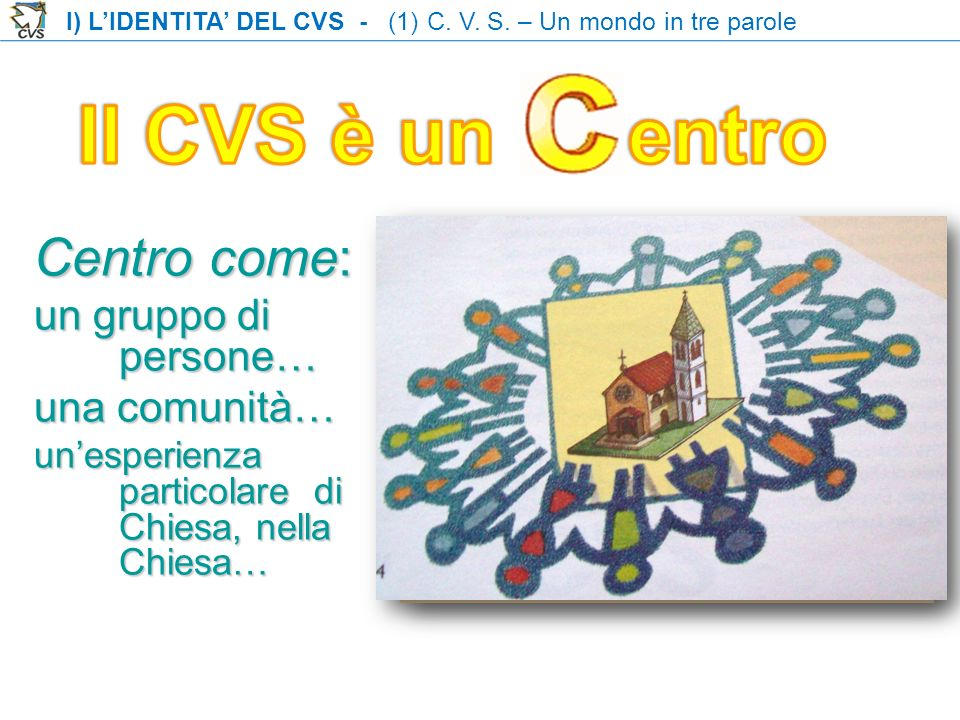 Il CVS è un entro Centro come: un gruppo di persone… una comunità…