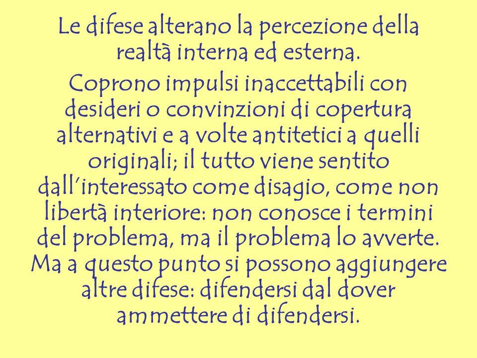 Le difese alterano la percezione della realtà interna ed esterna.