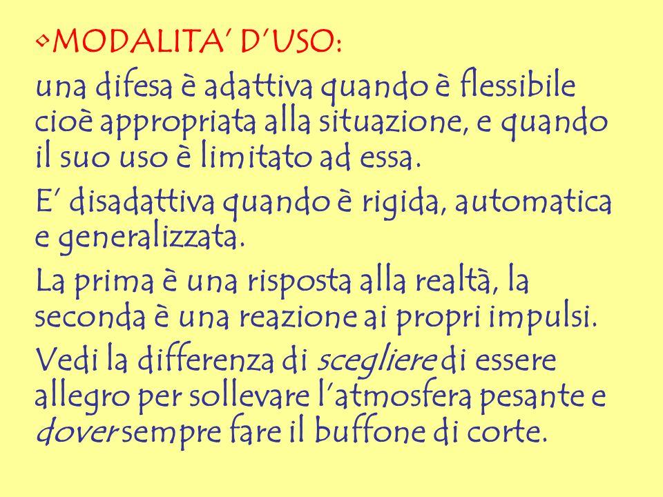 MODALITA' D'USO: una difesa è adattiva quando è flessibile cioè appropriata alla situazione, e quando il suo uso è limitato ad essa.