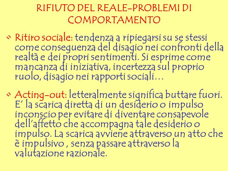RIFIUTO DEL REALE-PROBLEMI DI COMPORTAMENTO