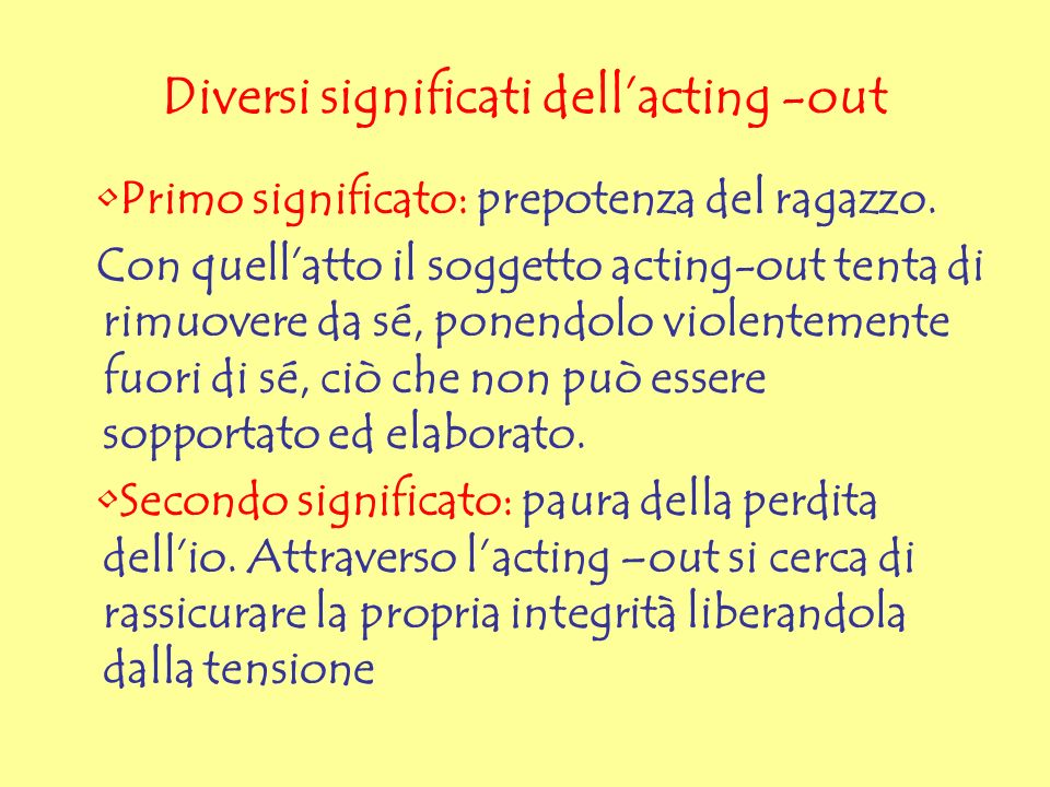 Diversi significati dell'acting -out