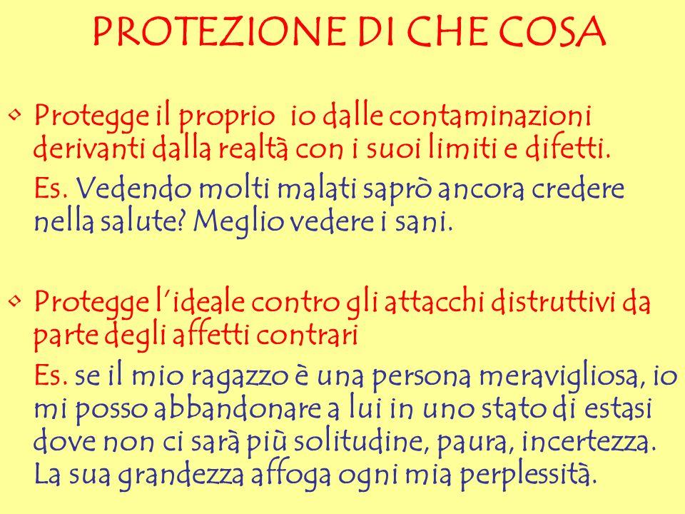 PROTEZIONE DI CHE COSA Protegge il proprio io dalle contaminazioni derivanti dalla realtà con i suoi limiti e difetti.