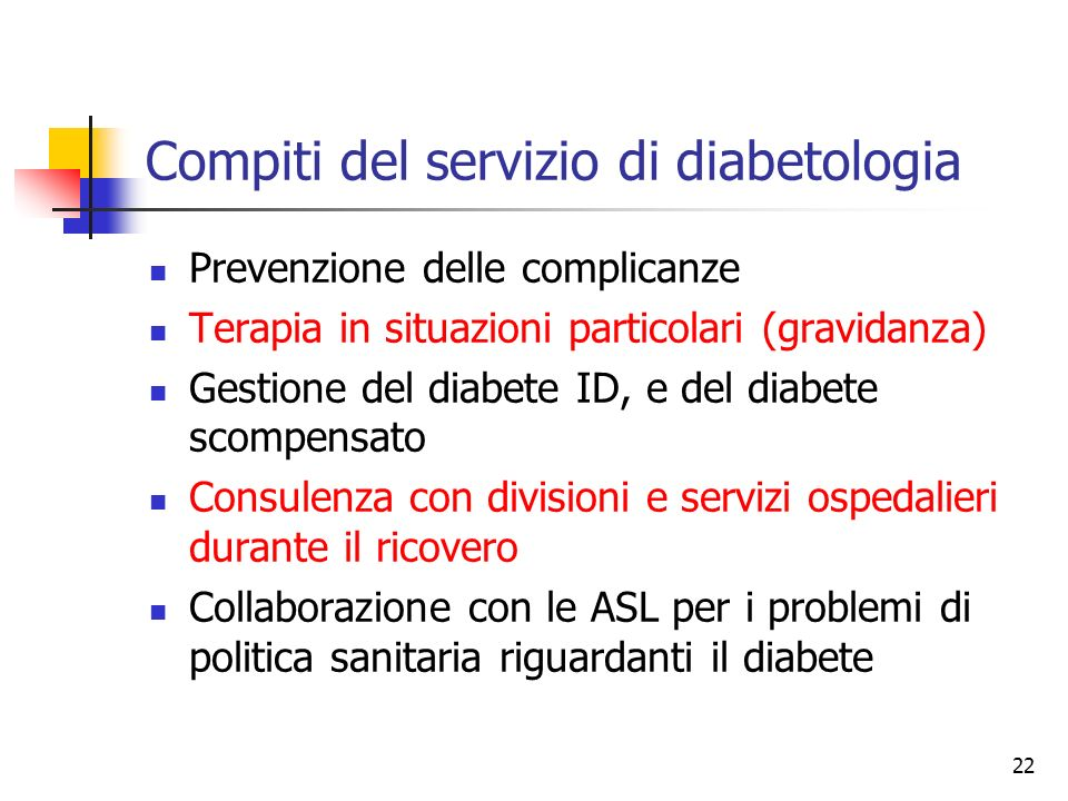 Compiti del servizio di diabetologia