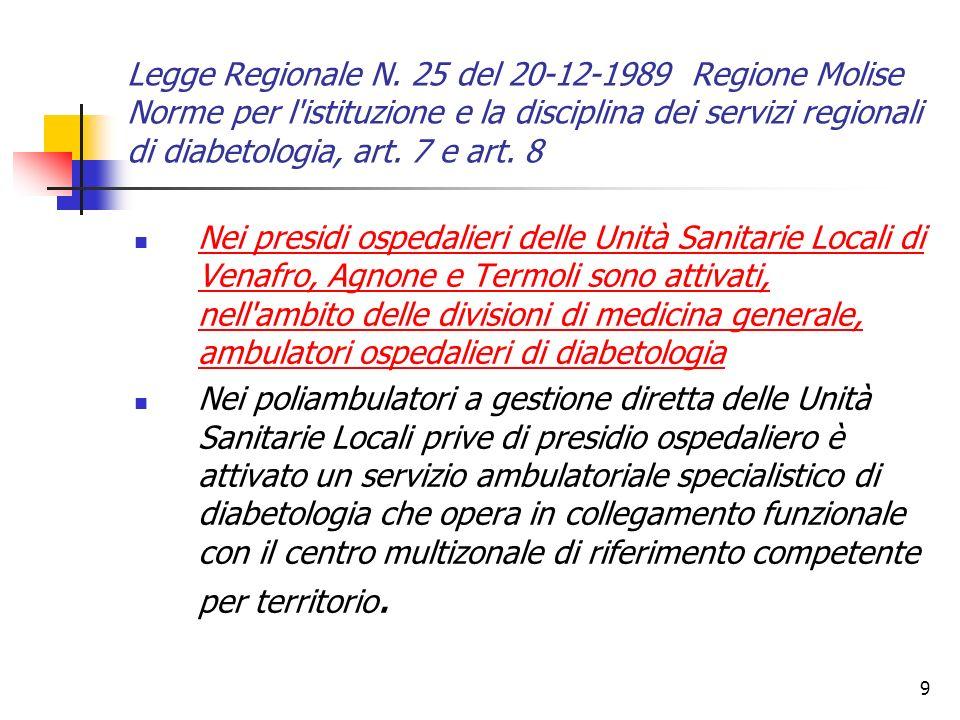 Legge Regionale N. 25 del 20-12-1989 Regione Molise Norme per l istituzione e la disciplina dei servizi regionali di diabetologia, art. 7 e art. 8