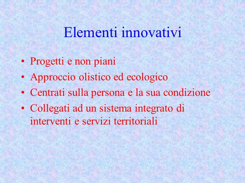 Elementi innovativi Progetti e non piani