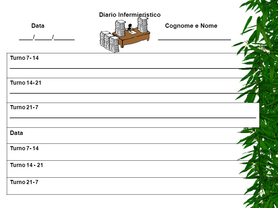 Diario Infermieristico Data Cognome e Nome