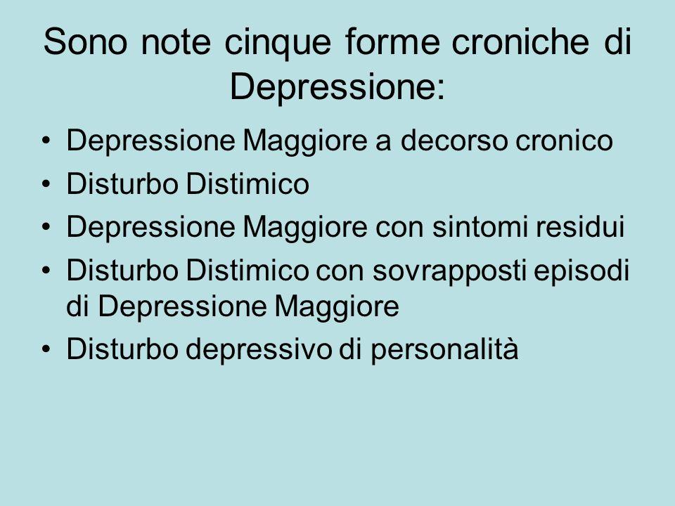 Sono note cinque forme croniche di Depressione: