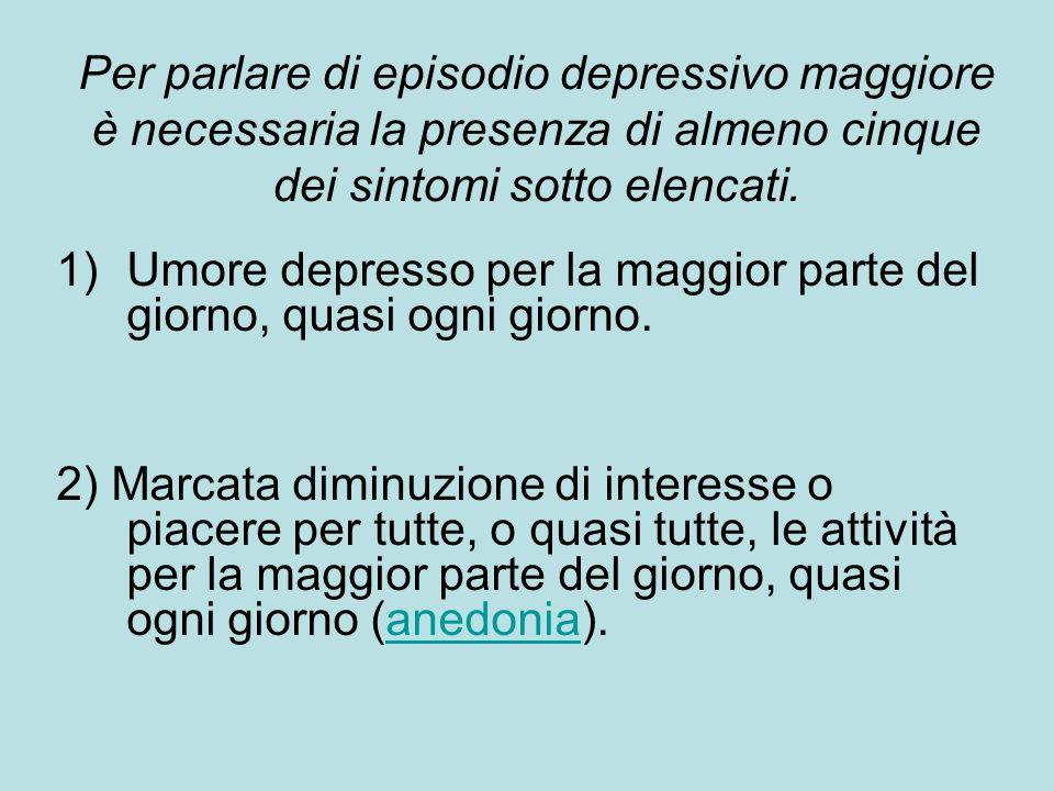 Per parlare di episodio depressivo maggiore è necessaria la presenza di almeno cinque dei sintomi sotto elencati.
