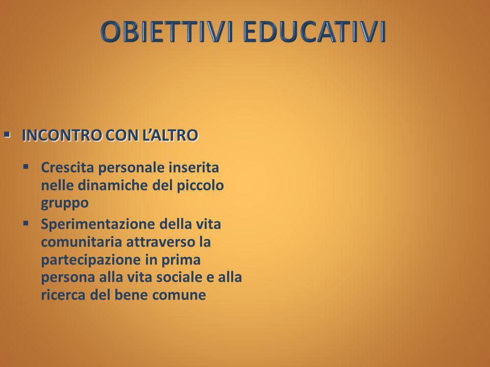 OBIETTIVI EDUCATIVI INCONTRO CON L'ALTRO