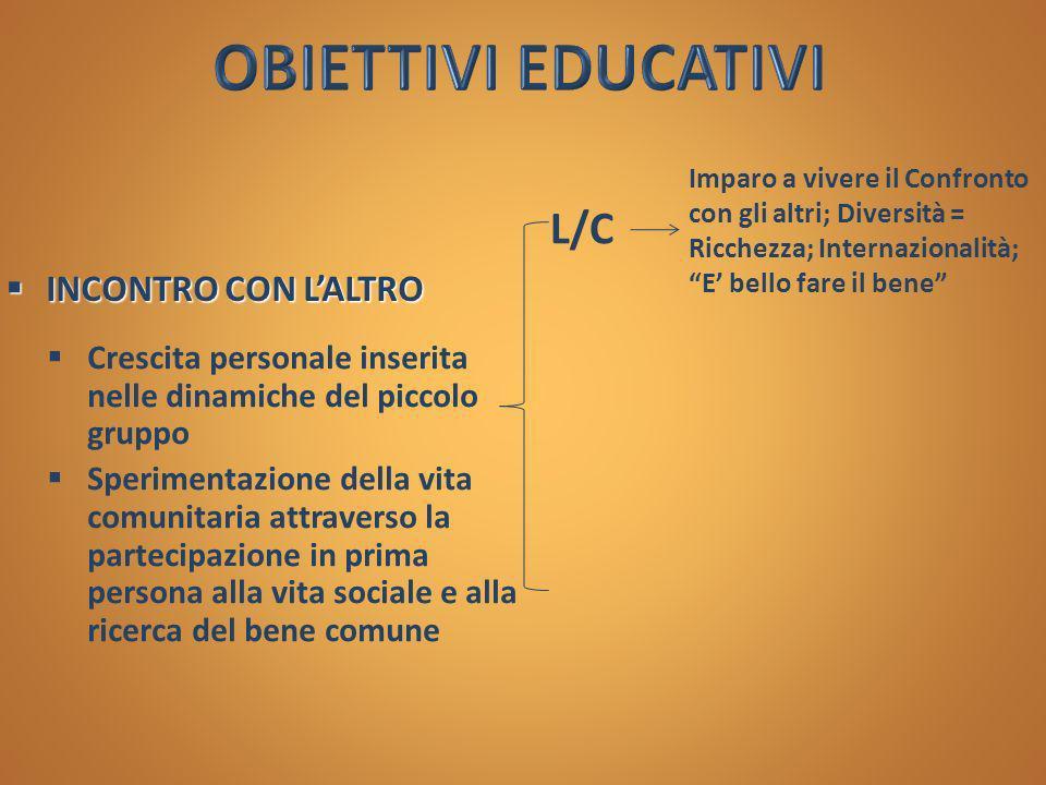 OBIETTIVI EDUCATIVI L/C INCONTRO CON L'ALTRO