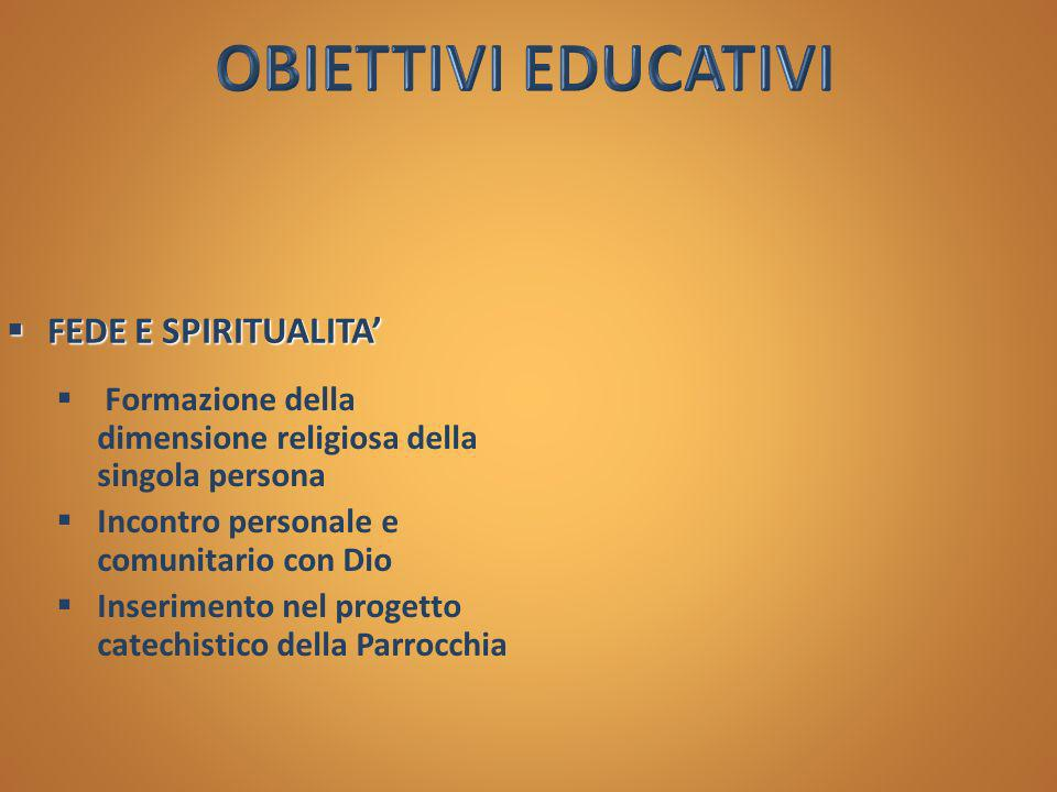 OBIETTIVI EDUCATIVI FEDE E SPIRITUALITA'