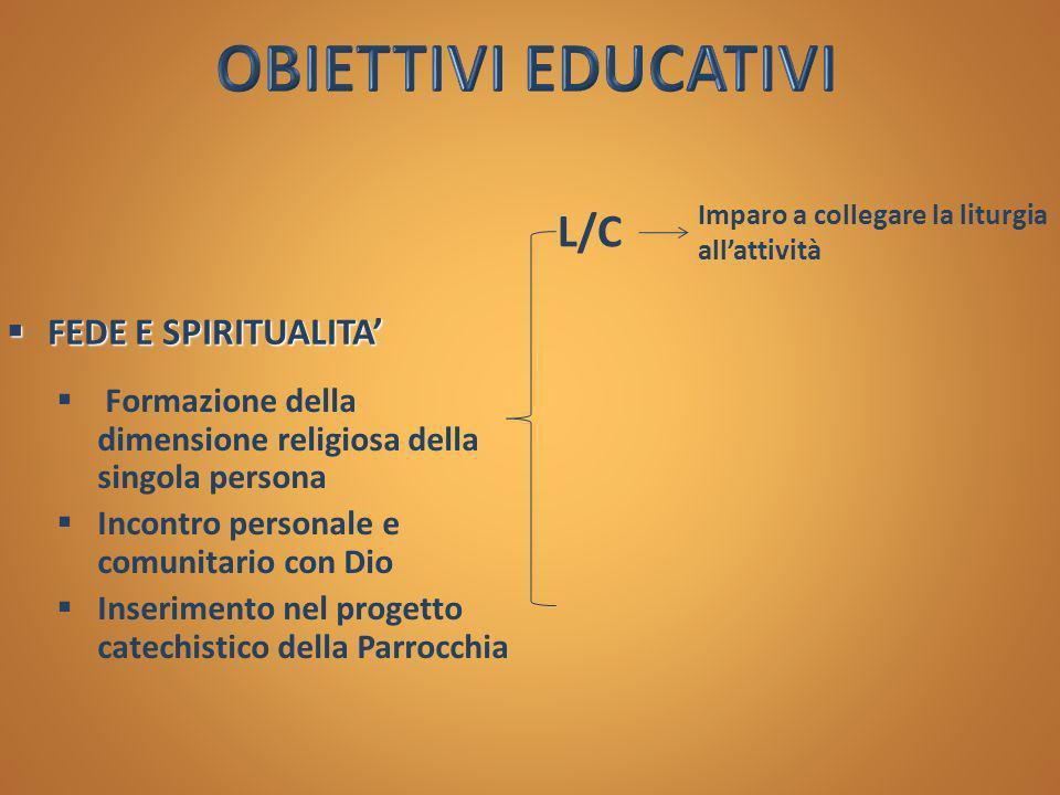 OBIETTIVI EDUCATIVI L/C FEDE E SPIRITUALITA'