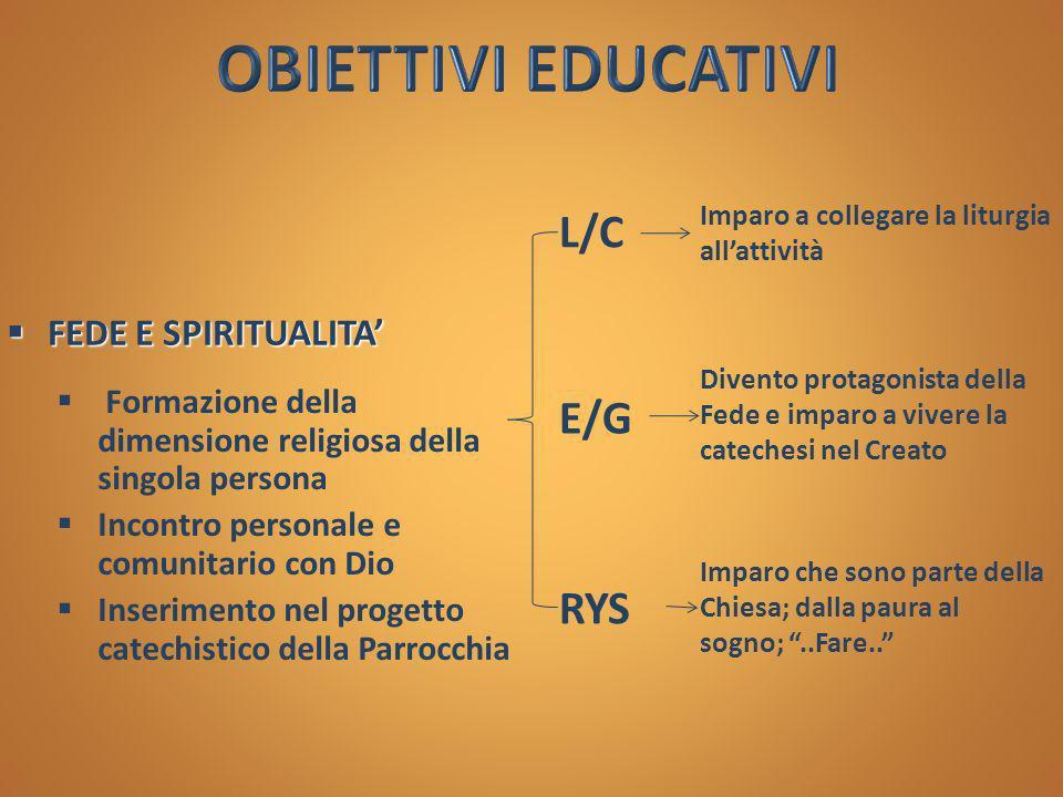 OBIETTIVI EDUCATIVI L/C E/G RYS FEDE E SPIRITUALITA'