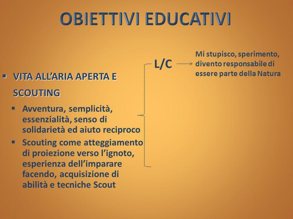 OBIETTIVI EDUCATIVI L/C VITA ALL'ARIA APERTA E SCOUTING