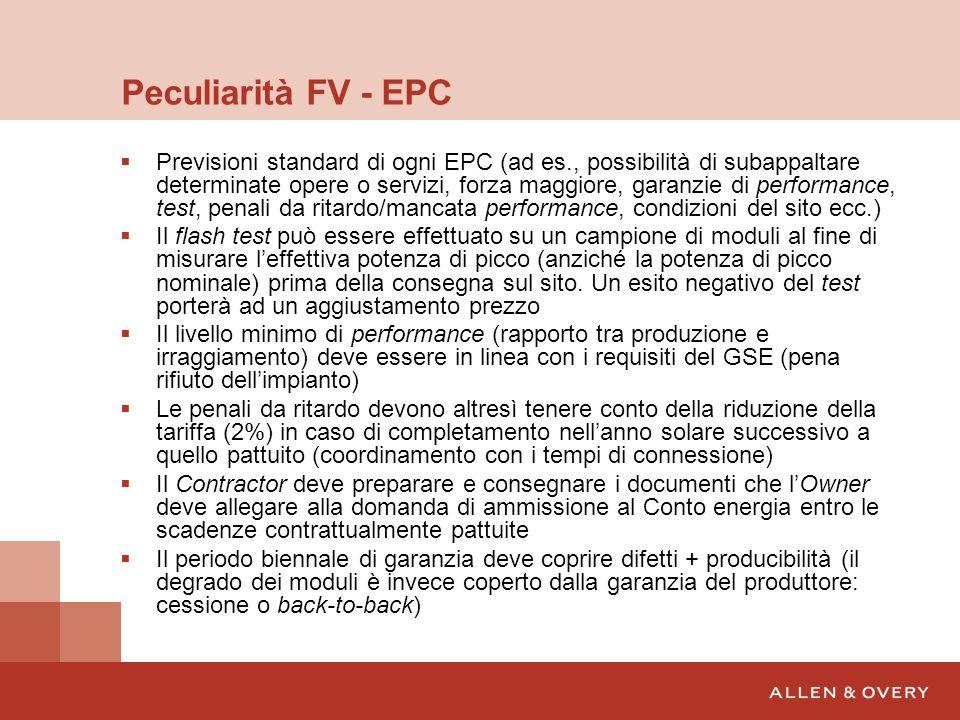 Peculiarità FV - EPC