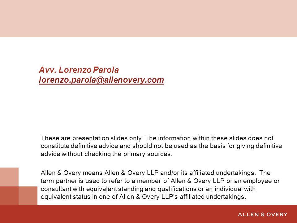 Avv. Lorenzo Parola lorenzo.parola@allenovery.com