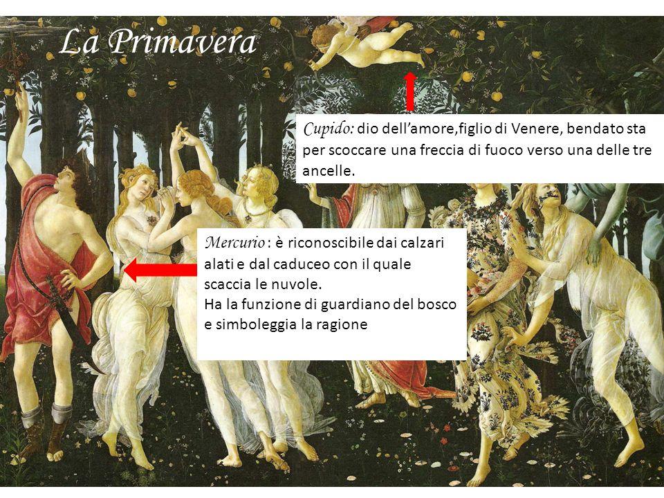 La PrimaveraCupido: dio dell'amore,figlio di Venere, bendato sta per scoccare una freccia di fuoco verso una delle tre ancelle.