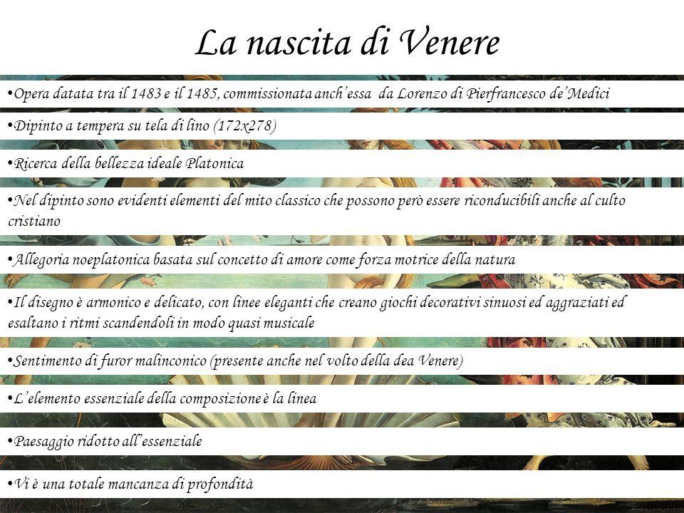 La nascita di VenereOpera datata tra il 1483 e il 1485, commissionata anch'essa da Lorenzo di Pierfrancesco de'Medici.
