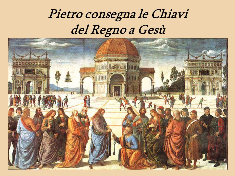 Pietro consegna le Chiavi del Regno a Gesù