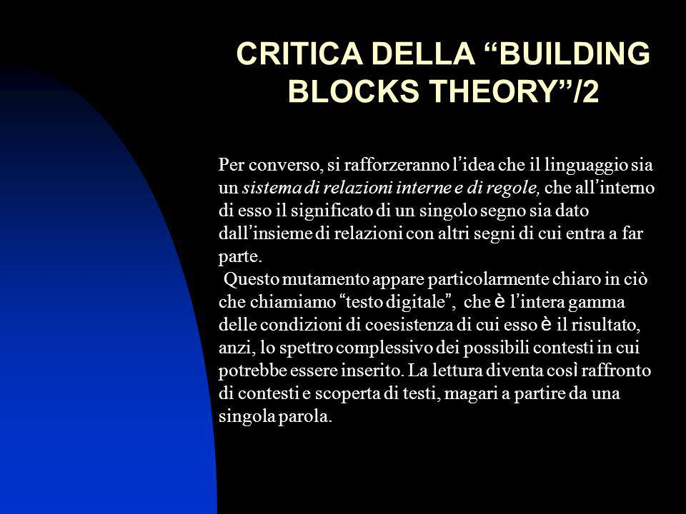 CRITICA DELLA BUILDING BLOCKS THEORY /2