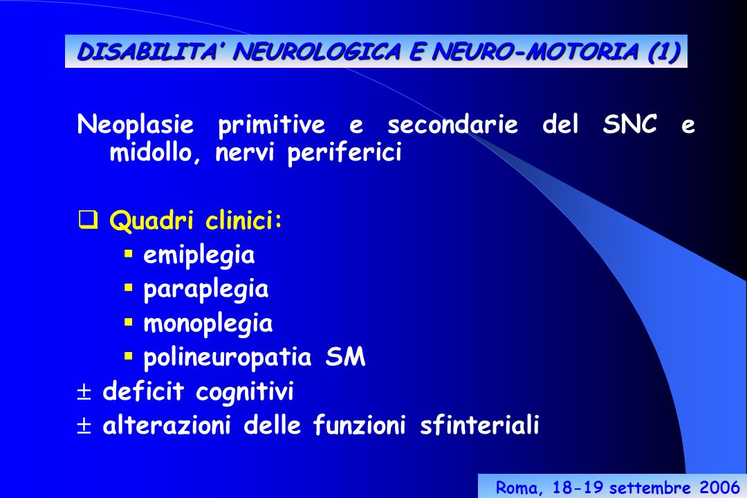 DISABILITA' NEUROLOGICA E NEURO-MOTORIA (1)