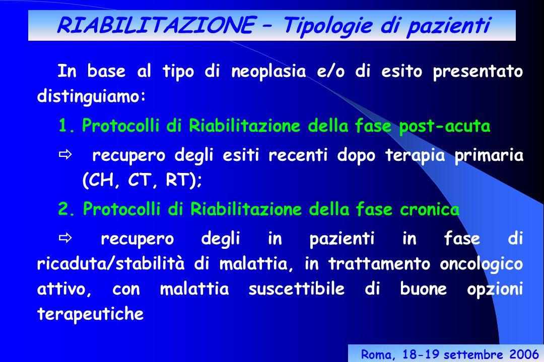 RIABILITAZIONE – Tipologie di pazienti