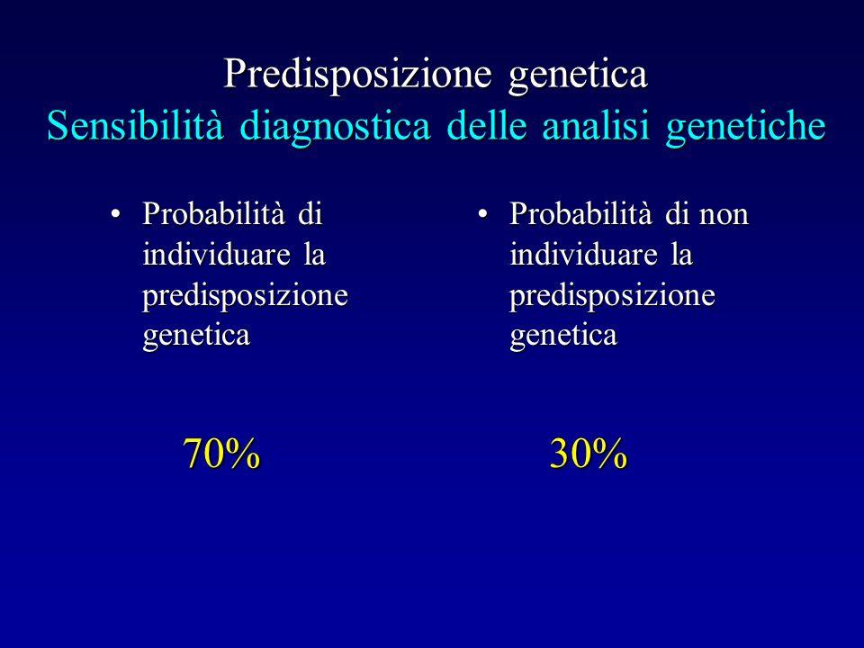 Predisposizione genetica Sensibilità diagnostica delle analisi genetiche