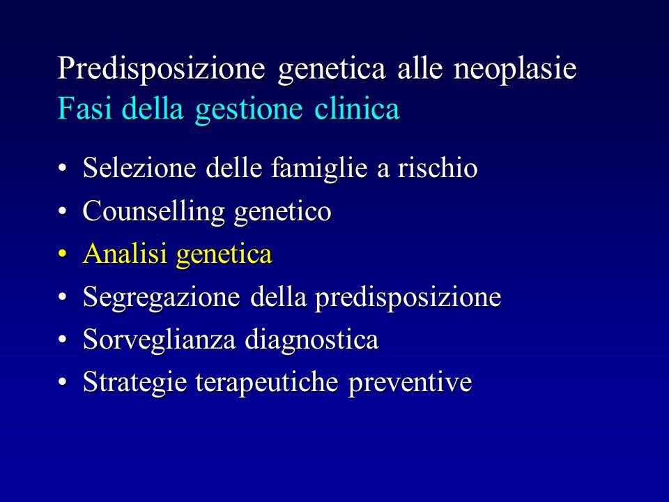 Predisposizione genetica alle neoplasie Fasi della gestione clinica