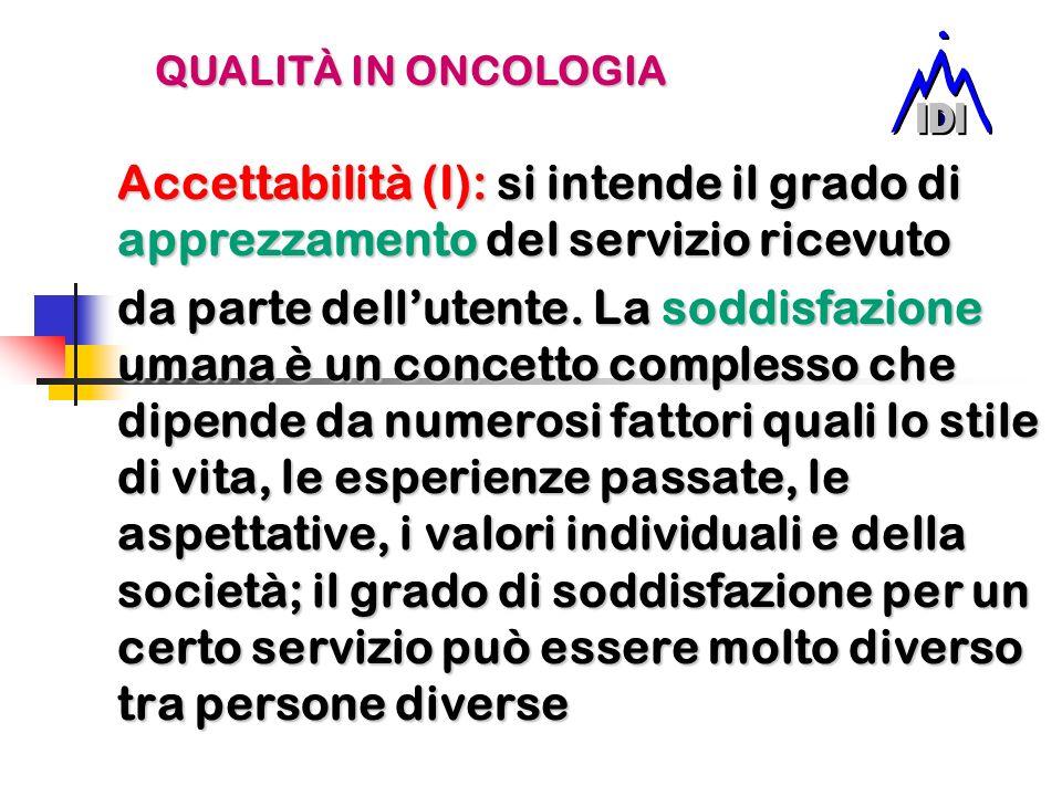 QUALITÀ IN ONCOLOGIA Accettabilità (I): si intende il grado di apprezzamento del servizio ricevuto.