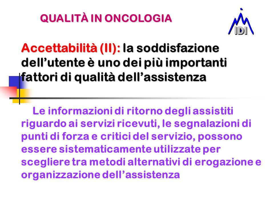 QUALITÀ IN ONCOLOGIAAccettabilità (II): la soddisfazione dell'utente è uno dei più importanti fattori di qualità dell'assistenza.