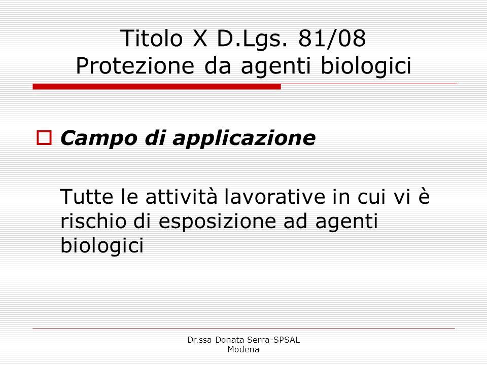 Titolo X D.Lgs. 81/08 Protezione da agenti biologici
