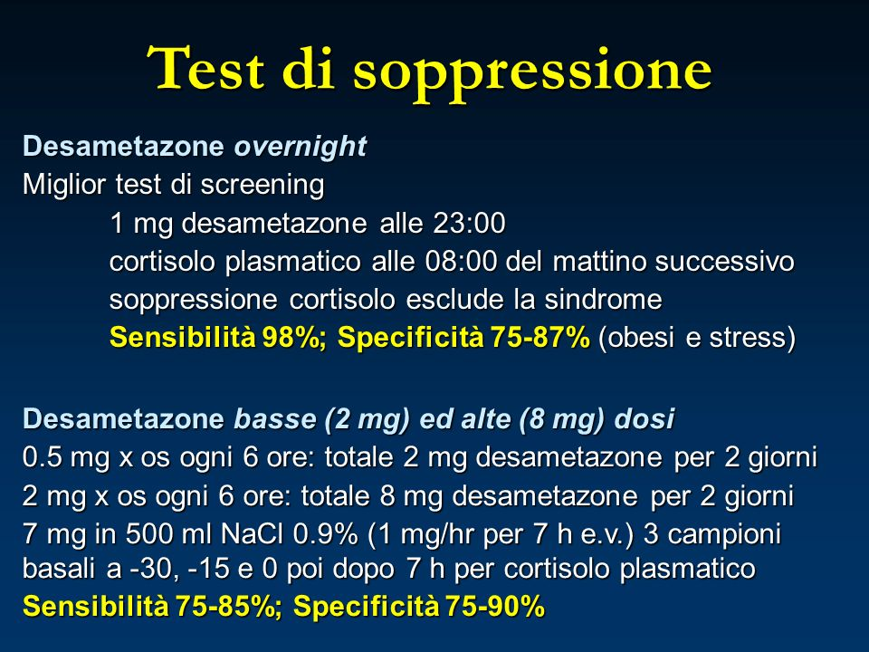 Test di soppressione Desametazone overnight Miglior test di screening