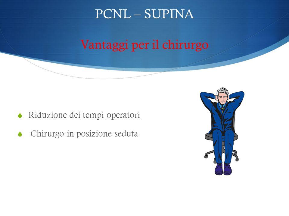 PCNL – SUPINA Vantaggi per il chirurgo