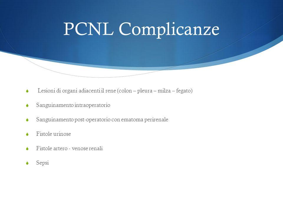 PCNL Complicanze Lesioni di organi adiacenti il rene (colon – pleura – milza – fegato) Sanguinamento intraoperatorio.