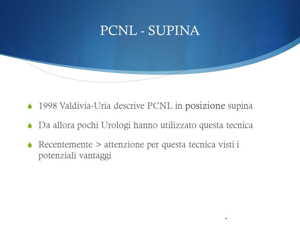 PCNL - SUPINA 1998 Valdivia-Uria descrive PCNL in posizione supina