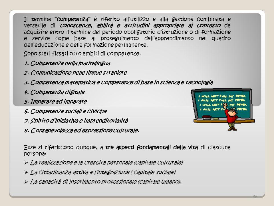 Sono stati fissati otto ambiti di competenze: