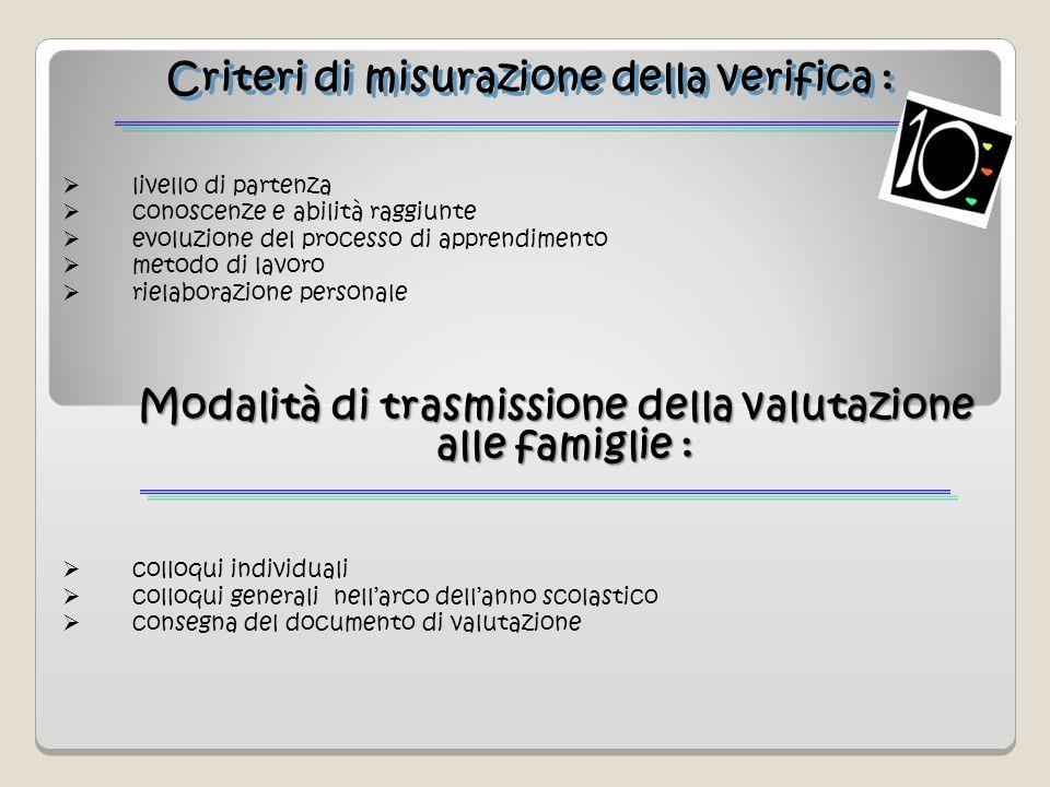 Criteri di misurazione della verifica :