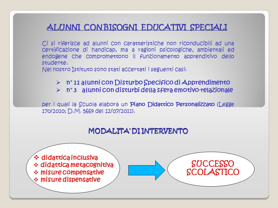 ALUNNI CON BISOGNI EDUCATIVI SPECIALI MODALITA' DI INTERVENTO