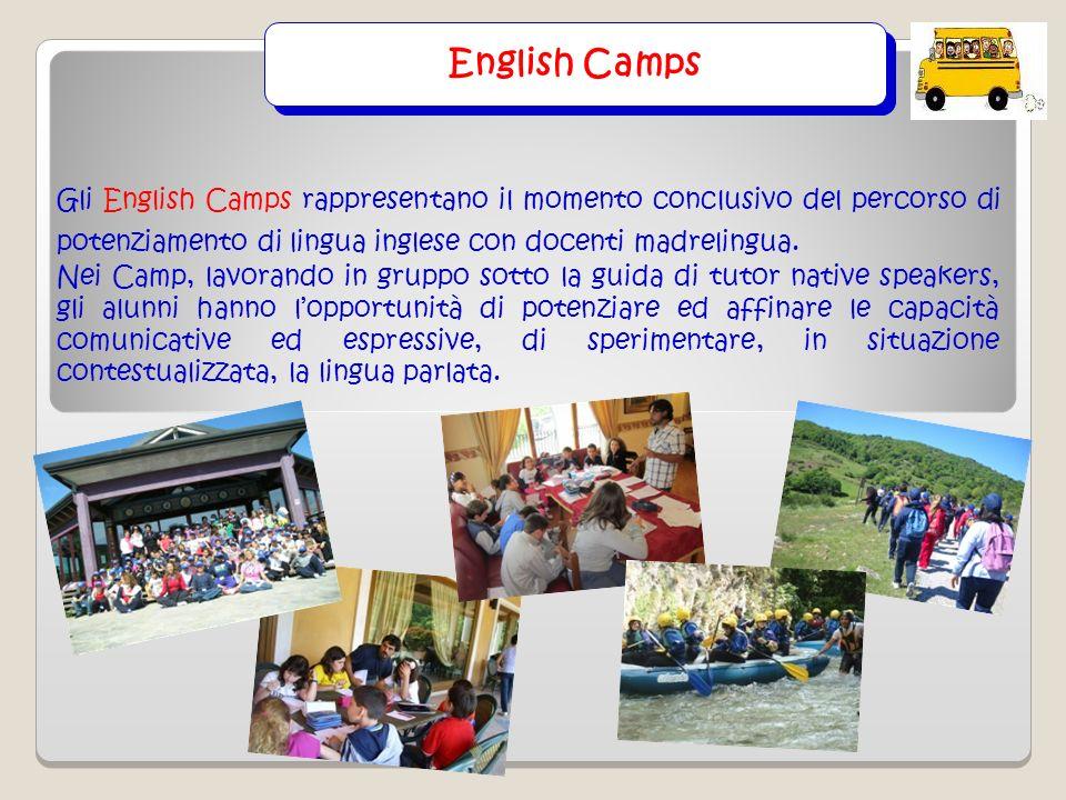 English Camps Gli English Camps rappresentano il momento conclusivo del percorso di potenziamento di lingua inglese con docenti madrelingua.