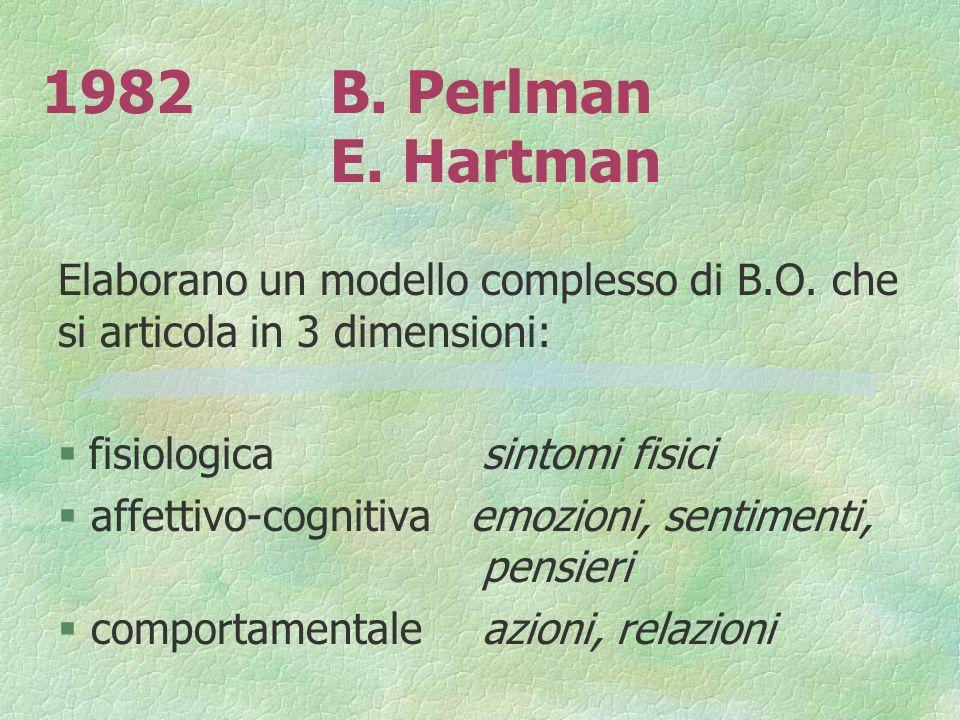 1982 B. Perlman E. Hartman Elaborano un modello complesso di B.O. che si articola in 3 dimensioni: