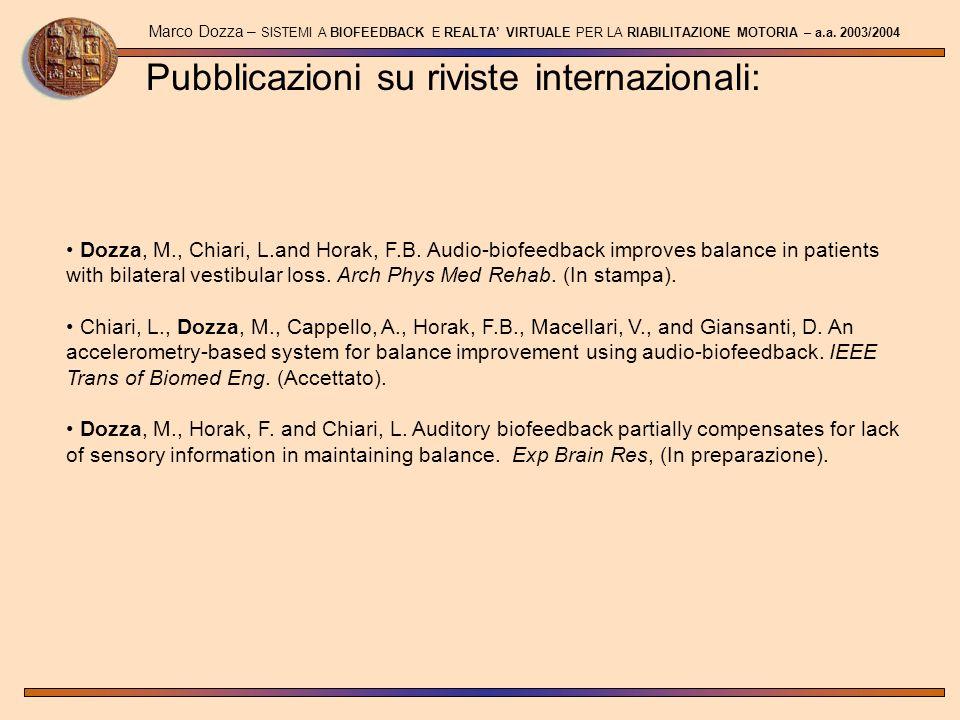 Pubblicazioni su riviste internazionali:
