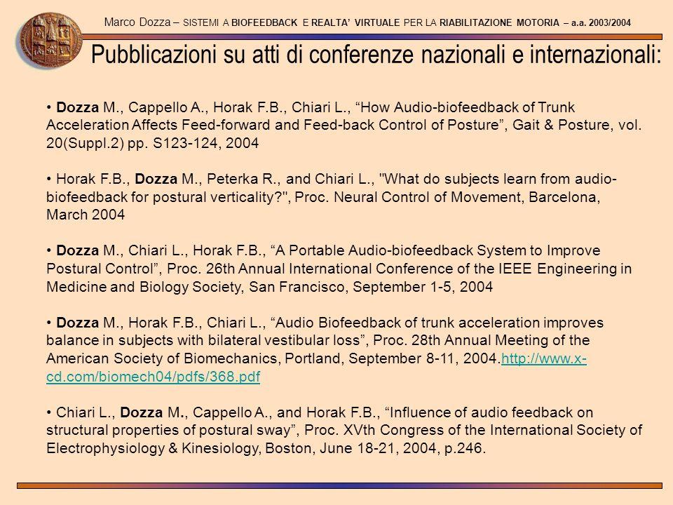 Pubblicazioni su atti di conferenze nazionali e internazionali: