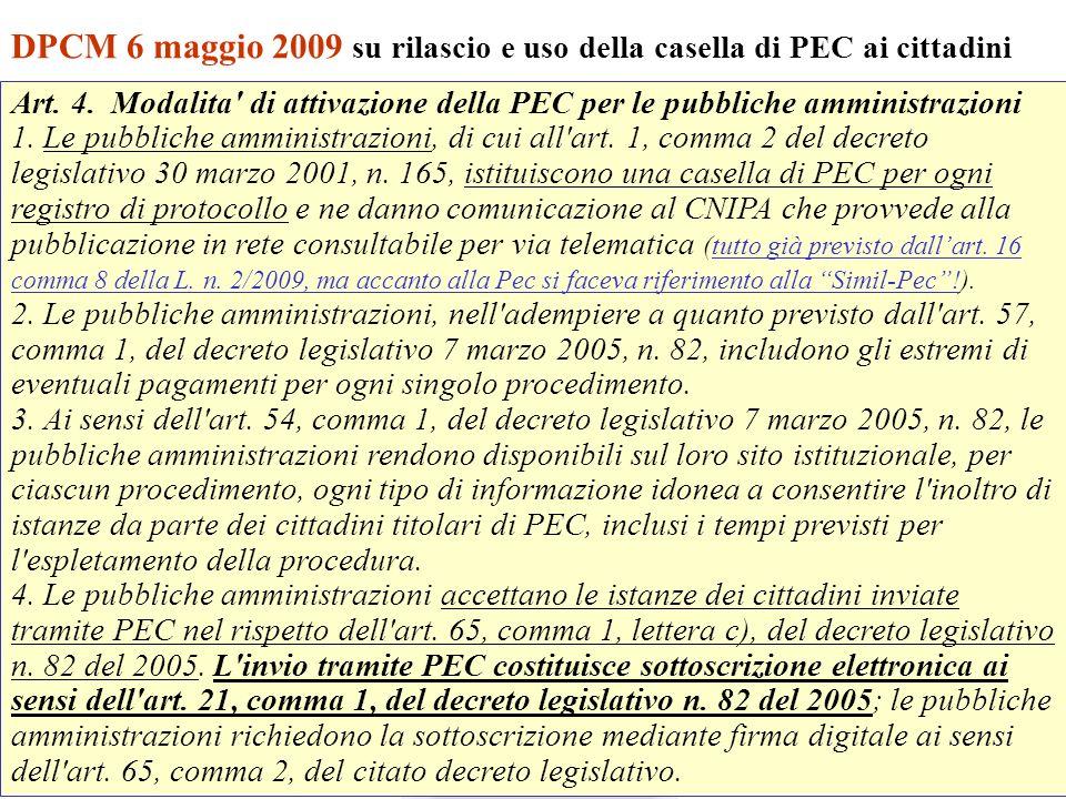 DPCM 6 maggio 2009 su rilascio e uso della casella di PEC ai cittadini