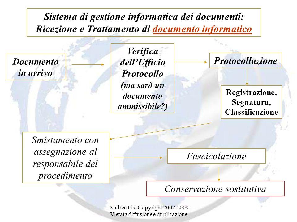 Sistema di gestione informatica dei documenti: Ricezione e Trattamento di documento informatico