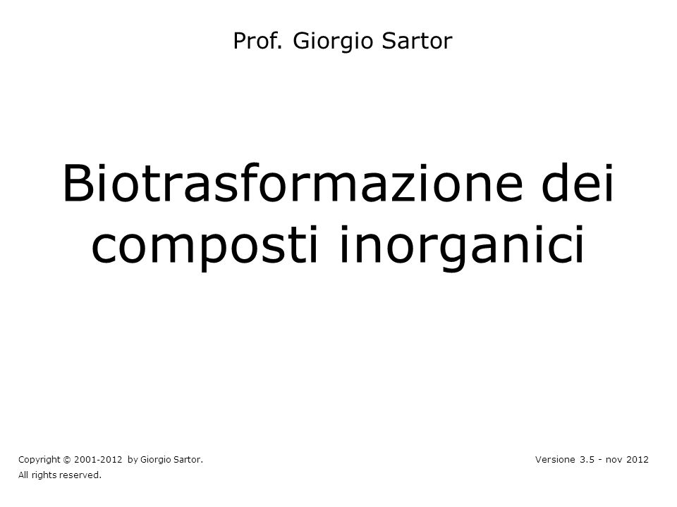 Biotrasformazione dei composti inorganici