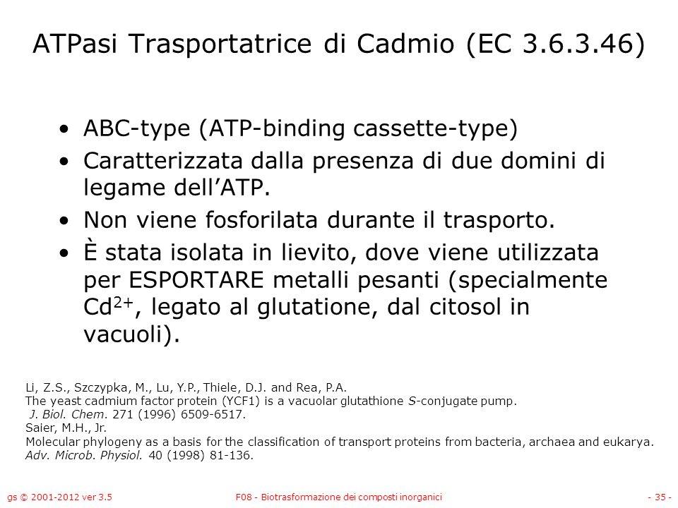 ATPasi Trasportatrice di Cadmio (EC 3.6.3.46)