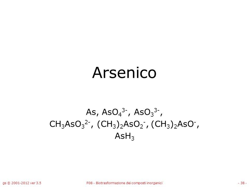 As, AsO43-, AsO33-, CH3AsO32-, (CH3)2AsO2-, (CH3)2AsO-, AsH3