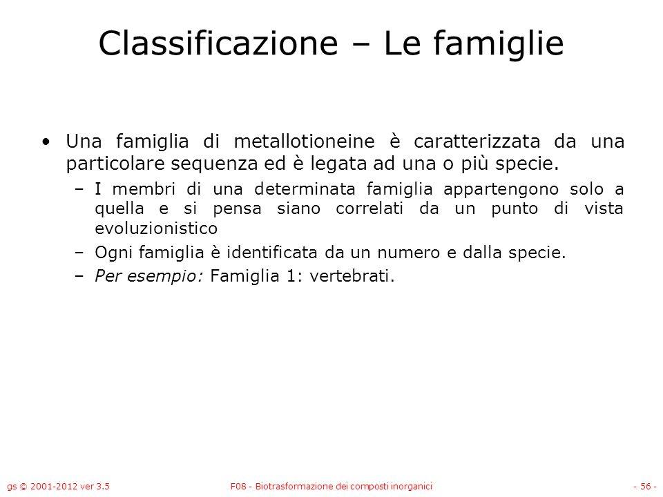 Classificazione – Le famiglie